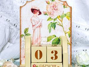 Делаем вечный календарь «Розовый сад» в технике «декупаж» с использованием ткани и чипборда. Ярмарка Мастеров - ручная работа, handmade.