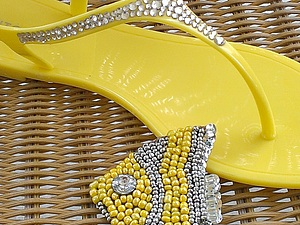 новые сандали и пачка желтого бисера | Ярмарка Мастеров - ручная работа, handmade