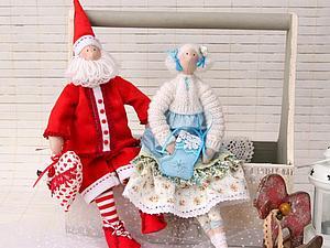 Санта и его подруга   Ярмарка Мастеров - ручная работа, handmade
