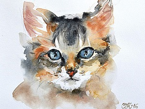 Видео мастер-класс: рисуем мордочку кота акварелью. Ярмарка Мастеров - ручная работа, handmade.