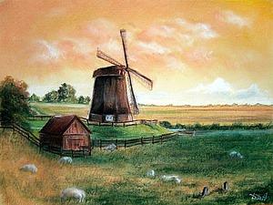 Рисуем пейзаж с мельницей в технике сухая пастель. Ярмарка Мастеров - ручная работа, handmade.