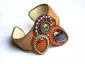 Вышитый браслет | Ярмарка Мастеров - ручная работа, handmade