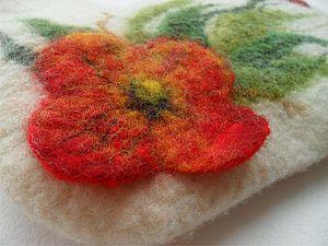 МК валяние сумочки-косметички с объемным цветком. | Ярмарка Мастеров - ручная работа, handmade