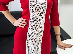 Аукцион на красное вязаное платье с кружевом СТАРТ 1000руб | Ярмарка Мастеров - ручная работа, handmade