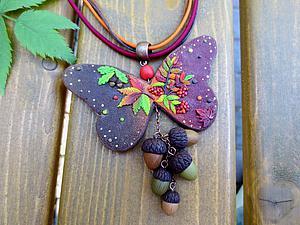 Лепим кулон из полимерной глины «Бабочка-осень». Ярмарка Мастеров - ручная работа, handmade.