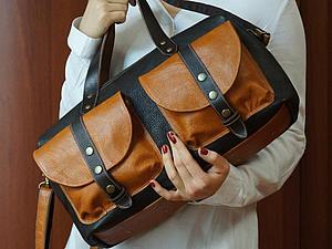 Кожаная сумка-саквояж с карманами