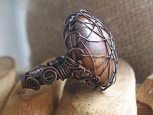 Медное кольцо с кабошоном. Ярмарка Мастеров - ручная работа, handmade.