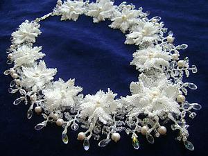 """Создание колье """"Свадебные цветы"""". Ярмарка Мастеров - ручная работа, handmade."""