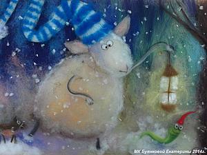 Мастер-класс по картинам из шерсти  - Овечка , Новый год   Ярмарка Мастеров - ручная работа, handmade