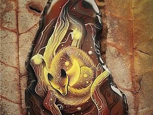 Сказка про Лисенка и месяц. Иллюстрации на камнях :) | Ярмарка Мастеров - ручная работа, handmade