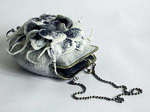 Дамская сумочка РИДИКЮЛЬ с цельно сваленным цветком | Ярмарка Мастеров - ручная работа, handmade