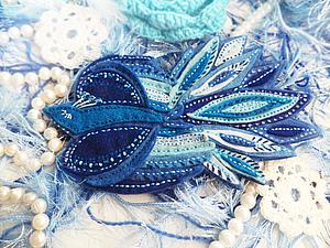 Синяя птица счастья (брошь из фетра) | Ярмарка Мастеров - ручная работа, handmade