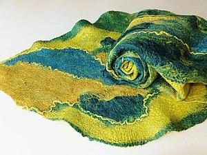 Валяние шарфа палантина на плоском шаблоне. Ярмарка Мастеров - ручная работа, handmade.