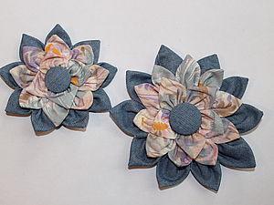 Цветок на сумку из джинсы и хлопка | Ярмарка Мастеров - ручная работа, handmade