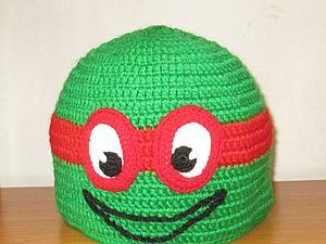 Вяжем крючком шапочку «Черепашка-ниндзя Рафаэль». Ярмарка Мастеров - ручная работа, handmade.