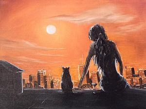 картинки девушка и кошка