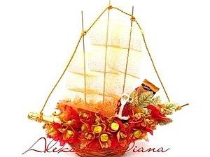 Букет из кофет: Композиция кораблик «Алые паруса» | Ярмарка Мастеров - ручная работа, handmade
