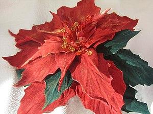 МК по цветам из кожи - пуанцессия   Ярмарка Мастеров - ручная работа, handmade