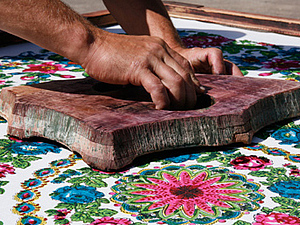 Ручная набойка Павловопосадских шалей. Ярмарка Мастеров - ручная работа, handmade.