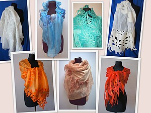 Палантин (шарф, бактус) на шелке   Ярмарка Мастеров - ручная работа, handmade
