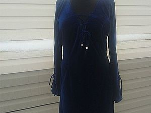 Аукцион на платье из синего бархата   Ярмарка Мастеров - ручная работа, handmade