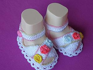 Подробный мастер-класс: вяжем пинетки-сандалии крючком. Ярмарка Мастеров - ручная работа, handmade.