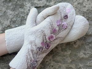 Валяние варежек с цветочным декором | Ярмарка Мастеров - ручная работа, handmade