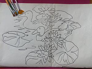 Рисуем на ткани уток и лилии. Ярмарка Мастеров - ручная работа, handmade.