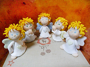 Рождественский ангел из полимерной глины | Ярмарка Мастеров - ручная работа, handmade