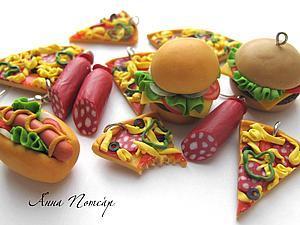 Миниатюры из пластики. Гамбургеры и пицца. | Ярмарка Мастеров - ручная работа, handmade