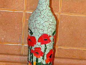 Делаем мозаичную бутылку «Маковое поле». Ярмарка Мастеров - ручная работа, handmade.