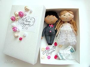 Подарочная коробочка для денег с куколками-молодоженами | Ярмарка Мастеров - ручная работа, handmade