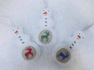 Елочный снеговичок | Ярмарка Мастеров - ручная работа, handmade