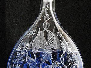 Декорируем графин и бокалы в технике гравировки по стеклу. Ярмарка Мастеров - ручная работа, handmade.
