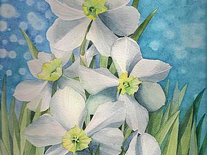 Рисуем Нарциссы акварелью | Ярмарка Мастеров - ручная работа, handmade