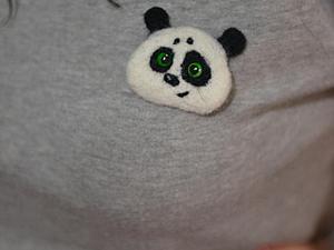 Валяем панду-брошку. Ярмарка Мастеров - ручная работа, handmade.
