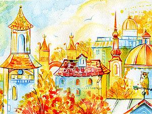 """Рисунок акварелью """"Солнечный город"""". Ярмарка Мастеров - ручная работа, handmade."""