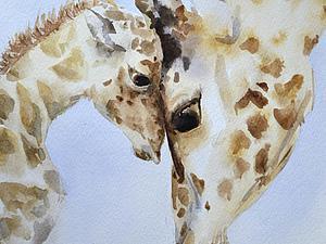 Поэтапное создание акварельной картины «Жирафы». Ярмарка Мастеров - ручная работа, handmade.
