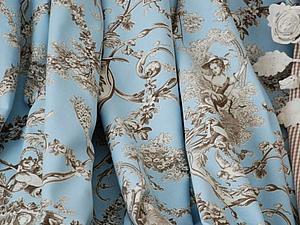 Ткань toile de jouy в голубом цвете | Ярмарка Мастеров - ручная работа, handmade