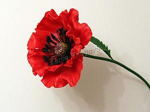 Создаем цветок красного мака из самозатвердевающей полимерной глины | Ярмарка Мастеров - ручная работа, handmade