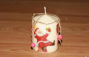 Декупаж свечи горячей ложкой. Ярмарка Мастеров - ручная работа, handmade.