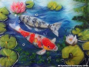 Мастер-класс по рисованию картин из сухой шерсти под стекло - Вербное воскресенье или Рыбки (Фен Шуй   Ярмарка Мастеров - ручная работа, handmade