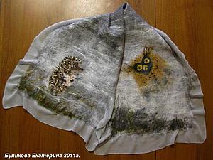 Мастер-класс по валянию шарфа на шелке(льне) с рисунком Ёжик в тумане | Ярмарка Мастеров - ручная работа, handmade