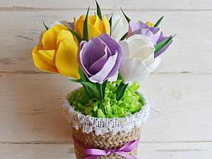 Встречаем весну: мастерим крокусы из фоамирана в горшочке. Ярмарка Мастеров - ручная работа, handmade.