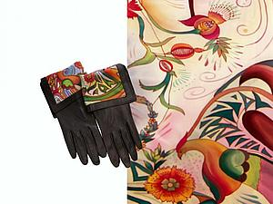 Скидка на комплект аксессуаров: перчатки и шарф батик | Ярмарка Мастеров - ручная работа, handmade