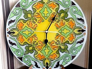 Часы для дома: роспись стеклянной заготовки. Ярмарка Мастеров - ручная работа, handmade.