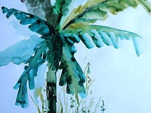 Морской Пейзаж с Пальмами. Обучение с 0ля до готовой картины за 2 ,5 часа   Ярмарка Мастеров - ручная работа, handmade