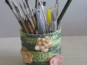 Стакан для карандашей из бобинок для скотча.. Ярмарка Мастеров - ручная работа, handmade.
