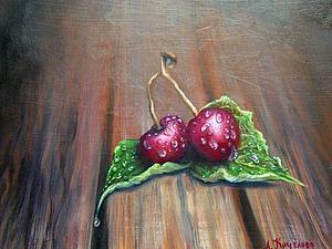 Рисуем маслом вишни в каплях воды. Ярмарка Мастеров - ручная работа, handmade.