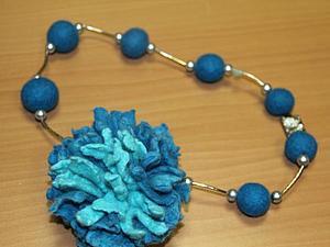 МК Бусы и брошь-цветок. Мокрое валяние(2-а дня) | Ярмарка Мастеров - ручная работа, handmade
